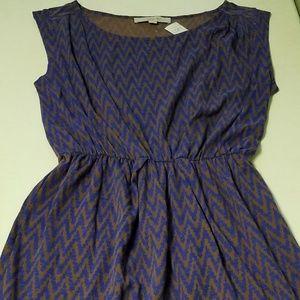 NWT Loft Cotton Dress Chevron Stripes  I409